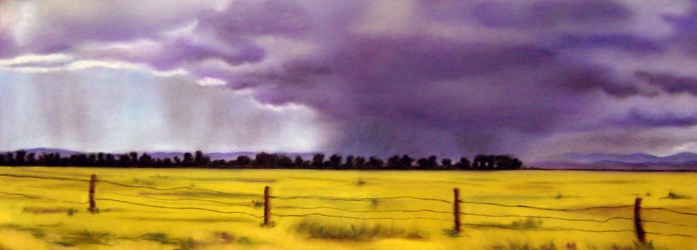 """Storm on the Horizon""pastel, 12x5"""