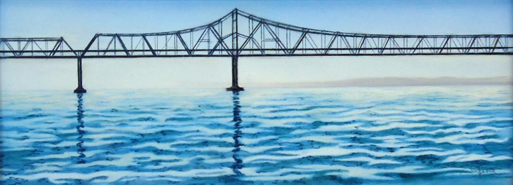 """""""Carquinez Bridge""""pastel, 12x5"""""""