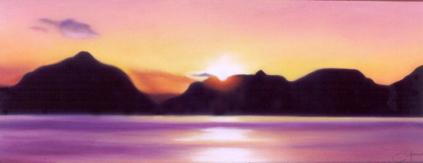 """""""Midnight Sun""""pastel, 12x5"""""""