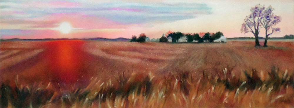"""""""Midwest Sunset""""pastel, 12x5"""""""