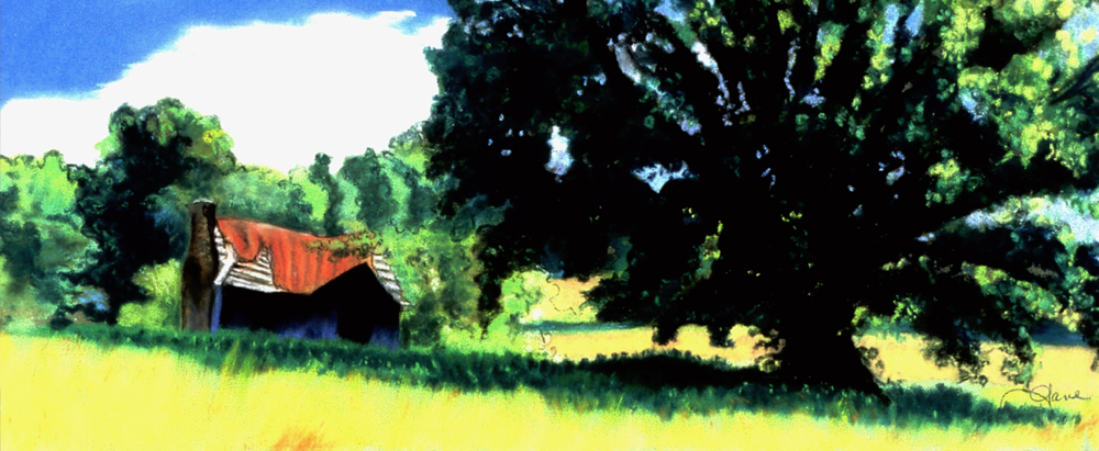 """Big Tree, Little Shack""pastel, 12x5"""