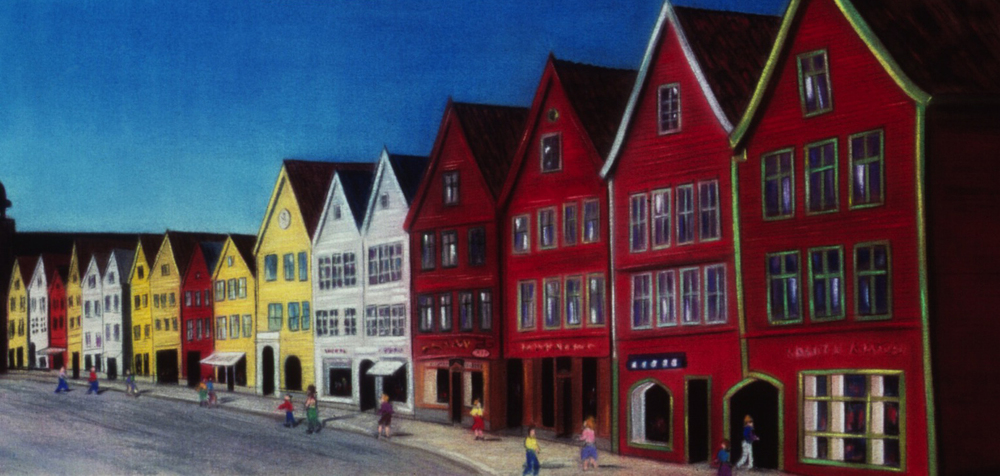 """""""Crooked Houses"""" pastel, 26x52"""""""