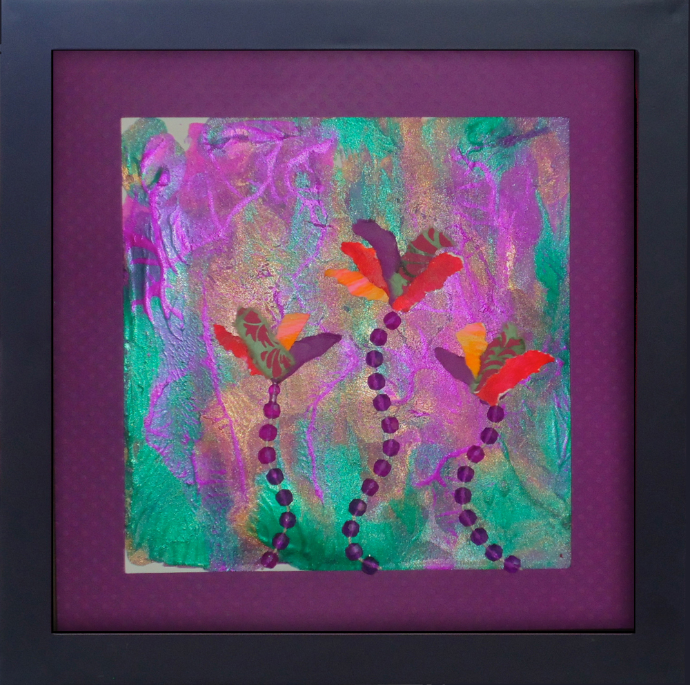 """""""I Went to a Garden Party"""" mixed media, 8""""x8""""  AVAILABLE / $75"""