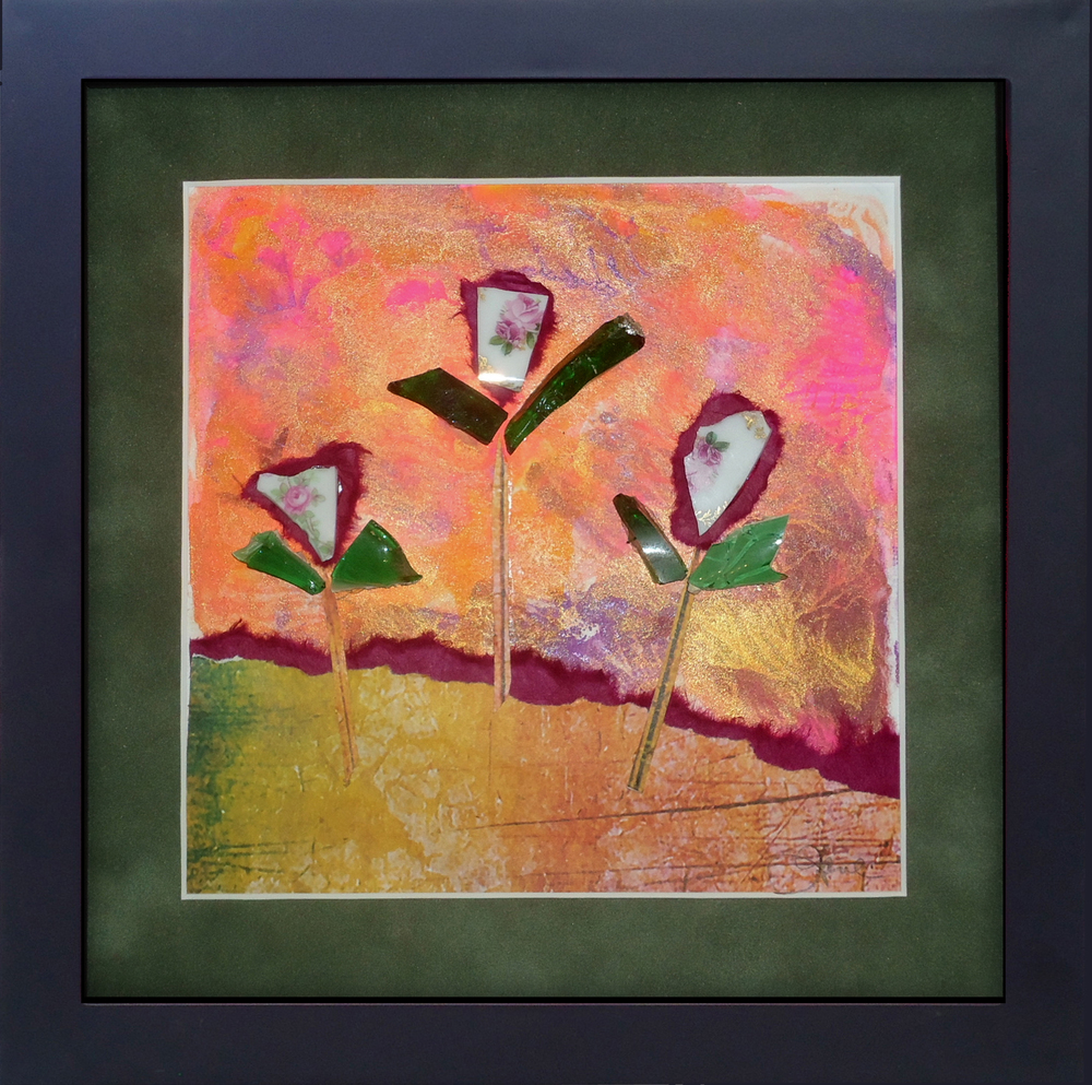 """Against The Wind"" framed monoprint, 8""x 8"""