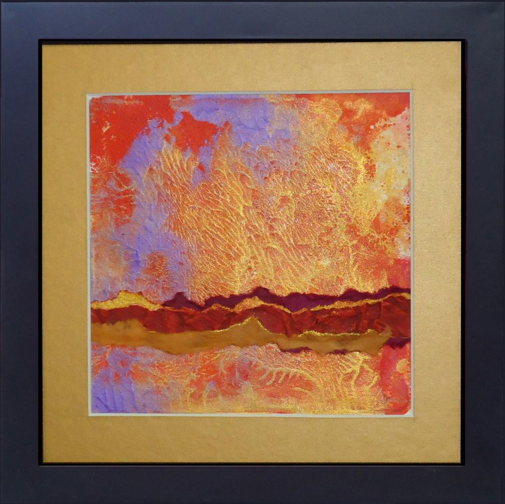 """""""Desert Sky""""framed monoprint, 8""""x8"""""""