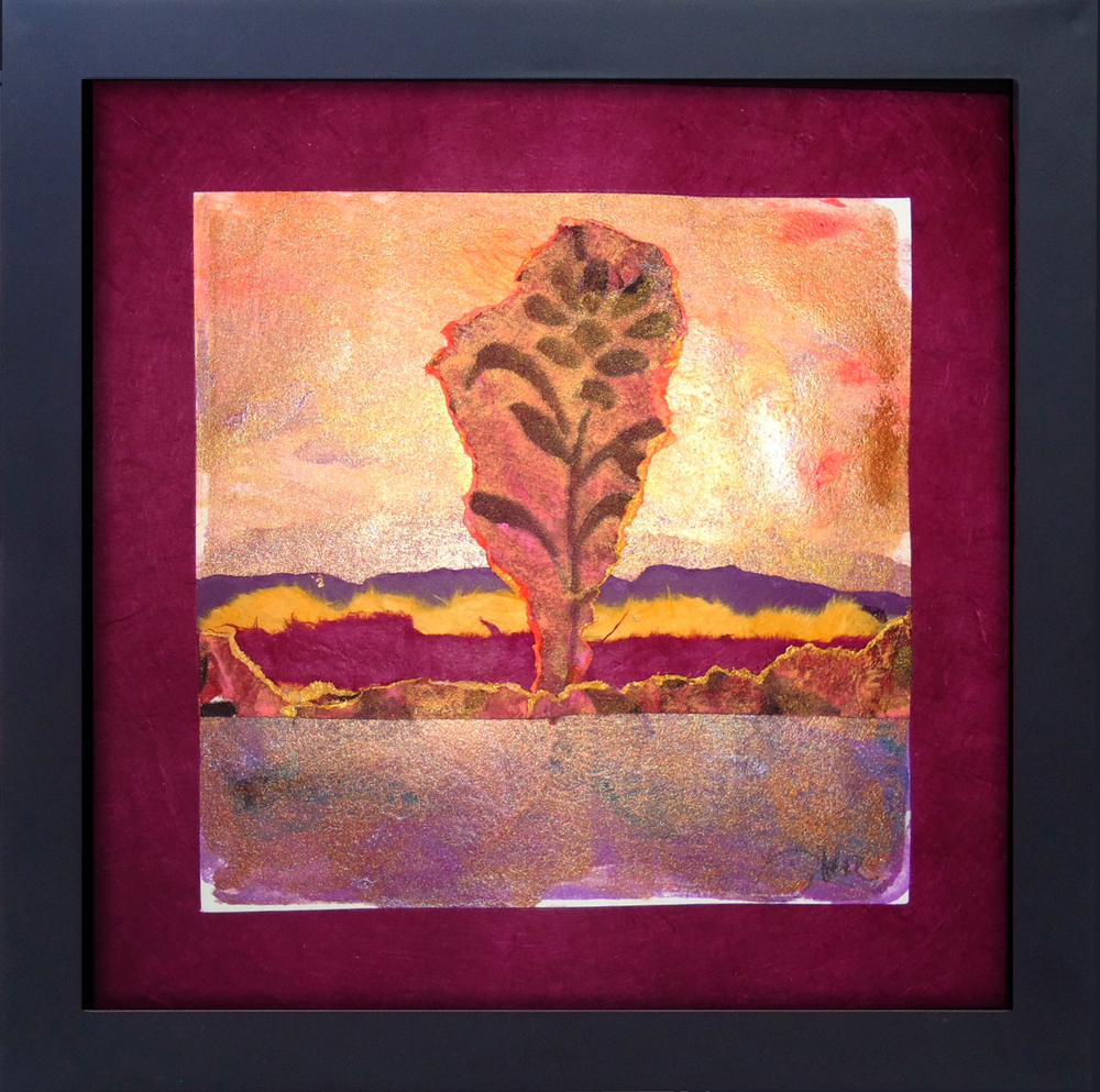 """""""Desert Flower"""" framed monoprint, 8""""x8"""""""