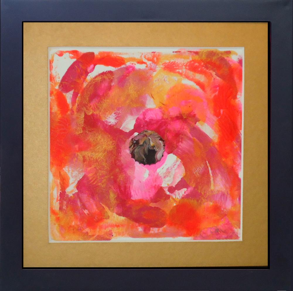 """Flower Power""framed monoprint, 8""x8""   AVAILABLE / $75"