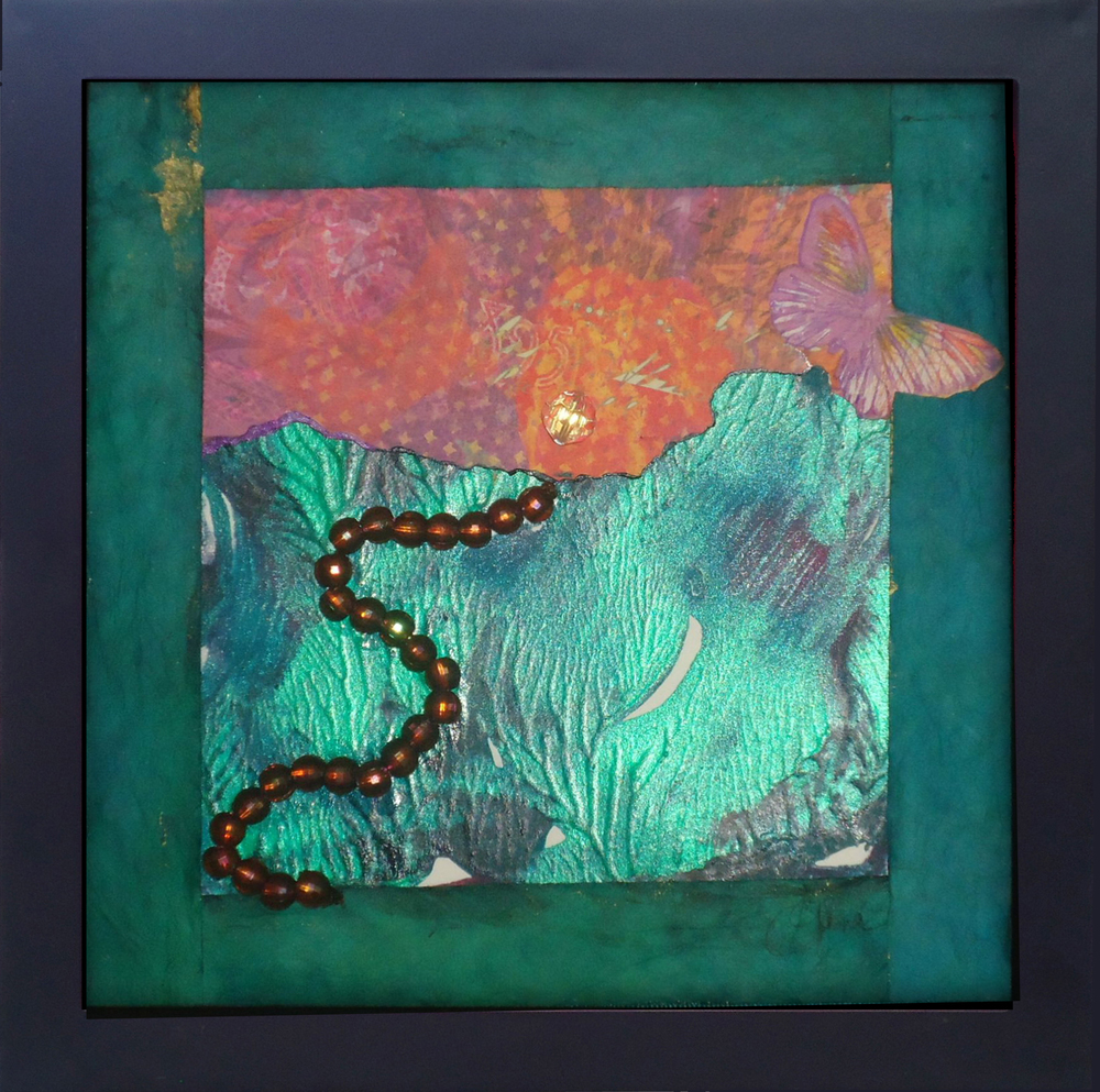 """""""The Road to All That Glitters""""mixed media, 8""""x8""""  AVAILABLE / $75"""