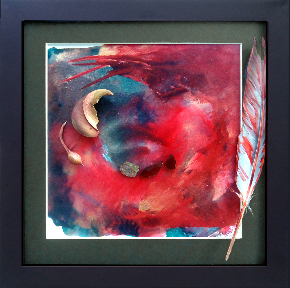 """""""Surrender to the Wind"""" framed monoprint, 8""""x8"""""""