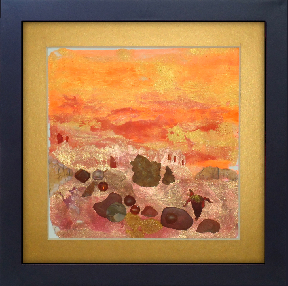 """""""Red Rocks"""" framed monoprint, 8""""x8""""  AVAILABLE / $75"""