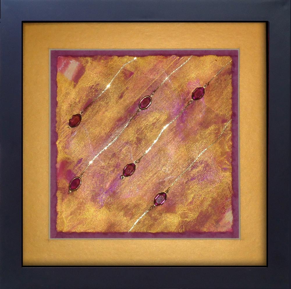 """""""Hail Storm"""" framed monoprint, 8""""x8""""  AVAILABLE / $75"""