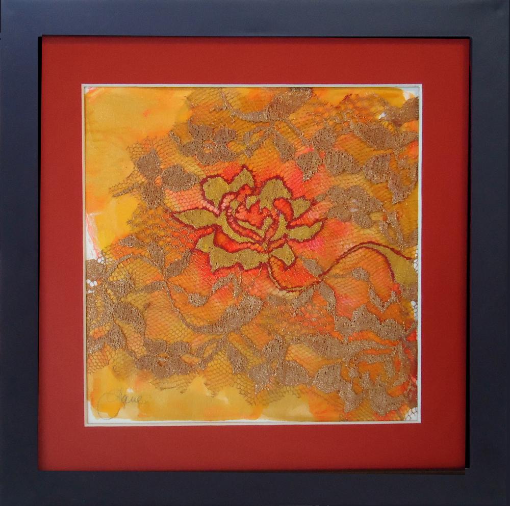 """""""Gilded Rose""""framed monoprint, 8""""x8"""""""