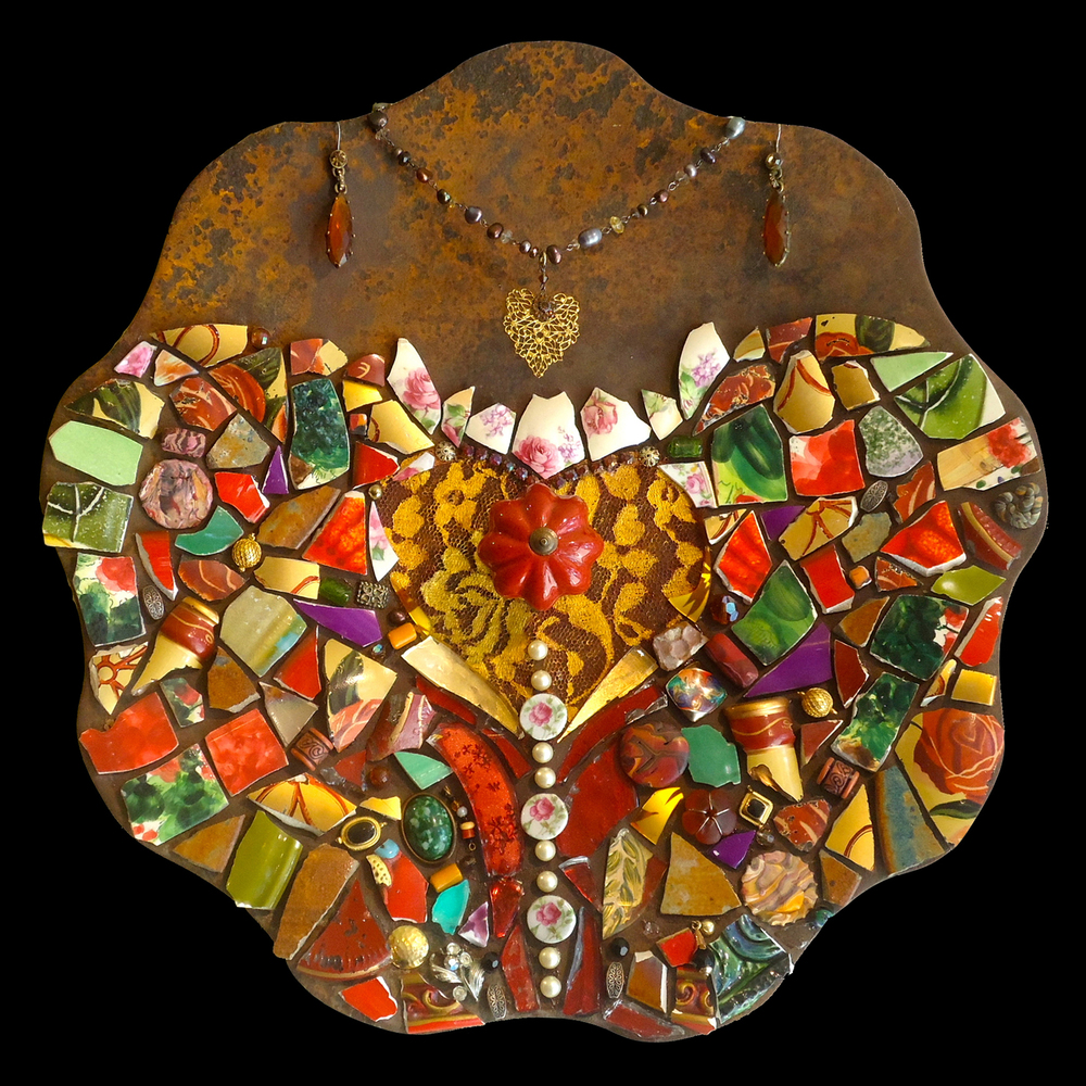 """""""Looking Sharp, Miss"""" tile, glass, found objects mosaic on metal,  14"""" in diameter"""