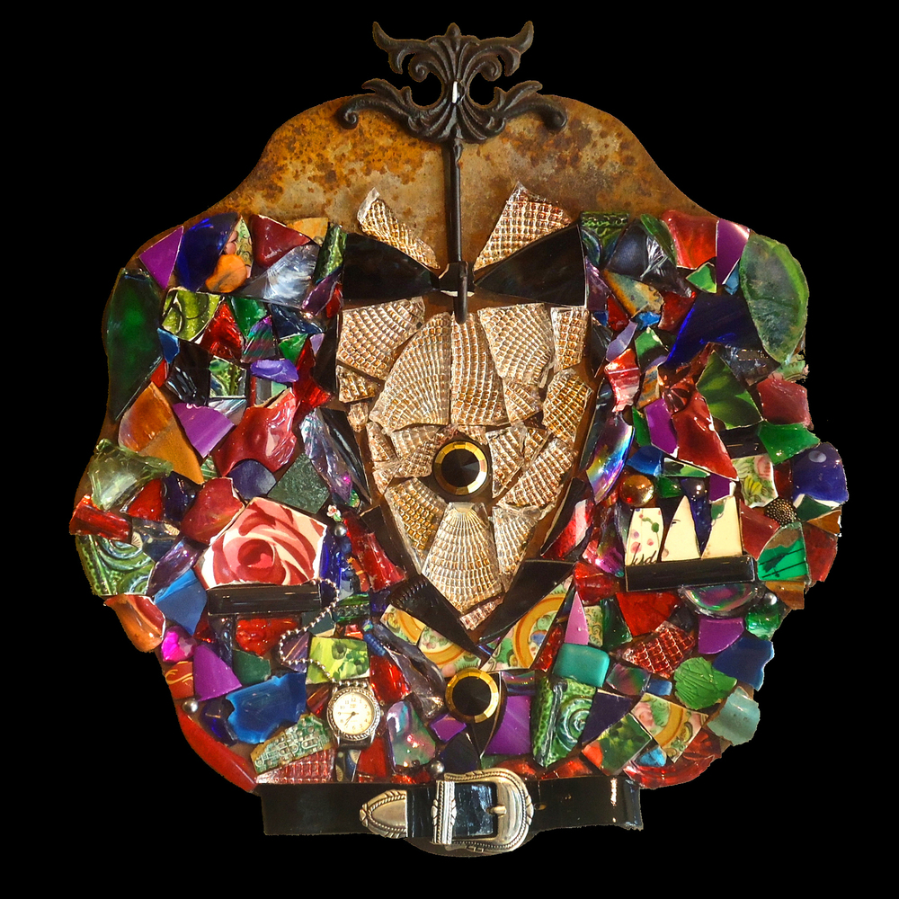 """""""Looking Sharp, Mister"""" tile, glass, found objects mosaic on metal,  14"""" in diameter"""