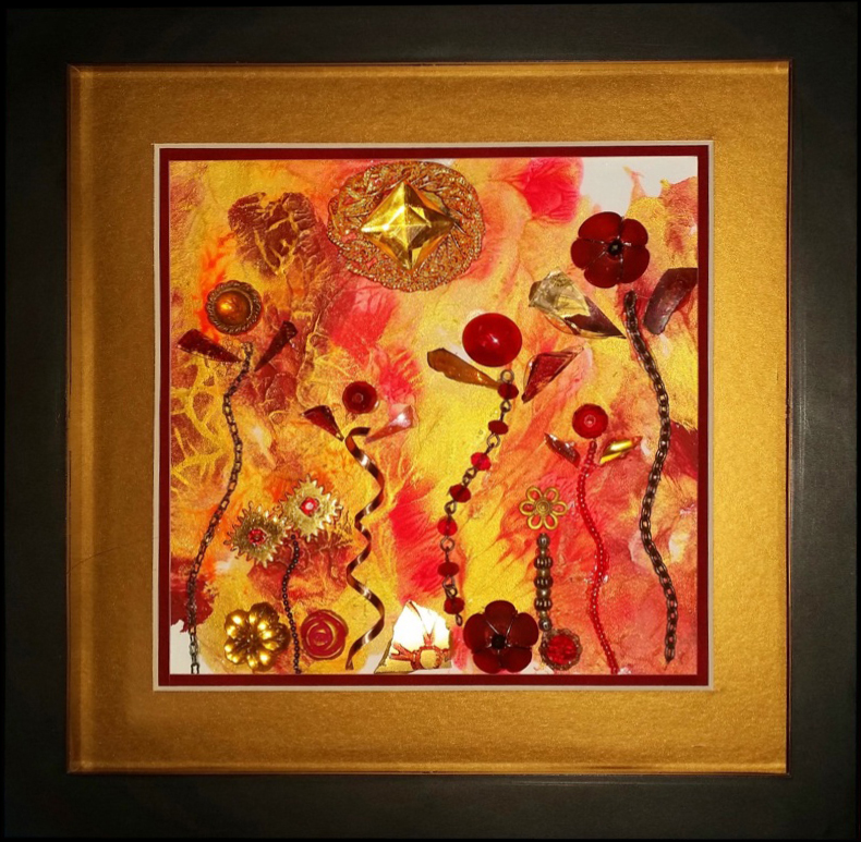 """""""Flowers, Like Dancing Flames to Warm Your Heart"""" framed monoprint, 9""""x9"""""""