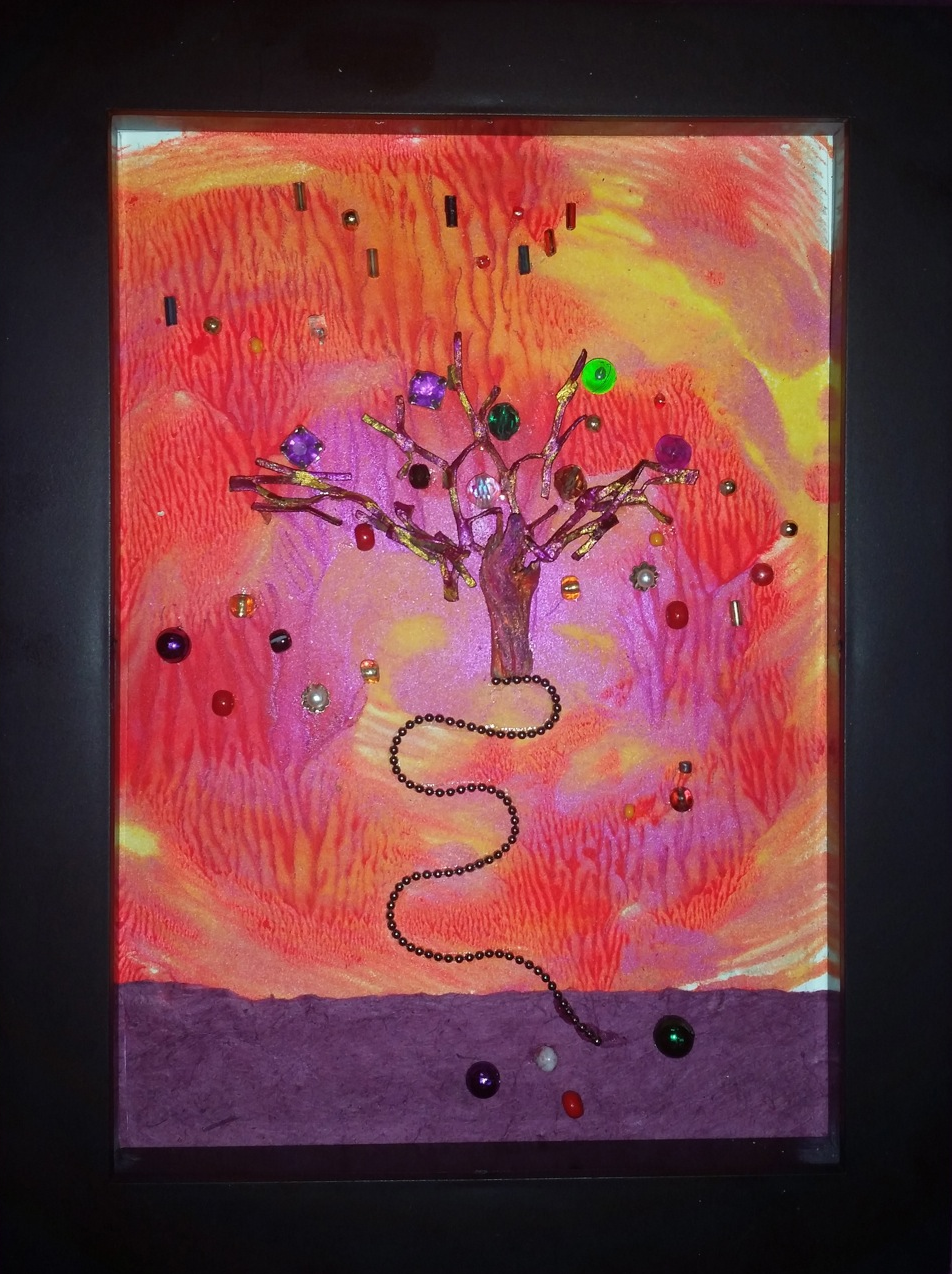 """Gumdrop Trees"" framed mixed media monoprint, 5""x7"""