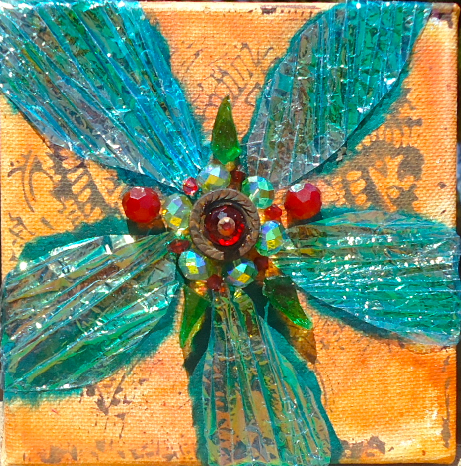 """""""Gift Wrapped"""" mixed media, 5""""x5"""""""