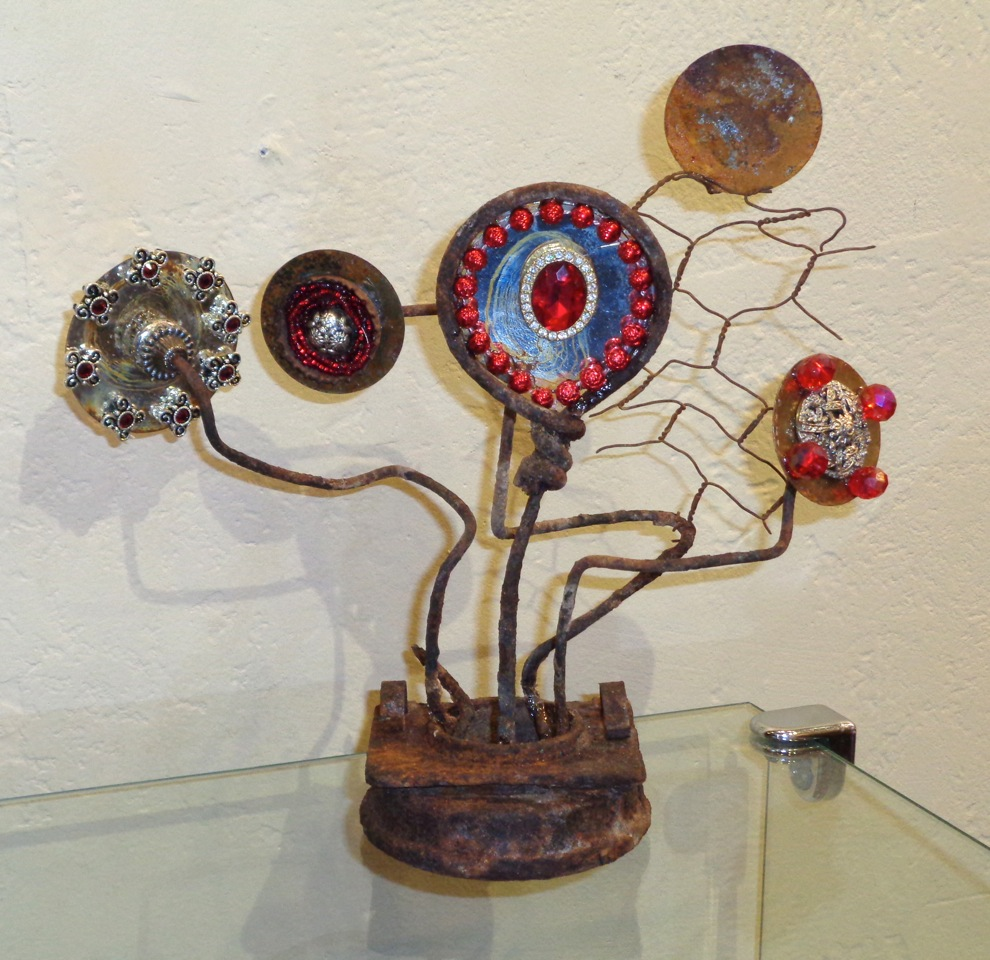"""""""Love Will Find a Way"""" found object, mixed media, 7""""h x 7""""w   AVAILABLE / $65"""