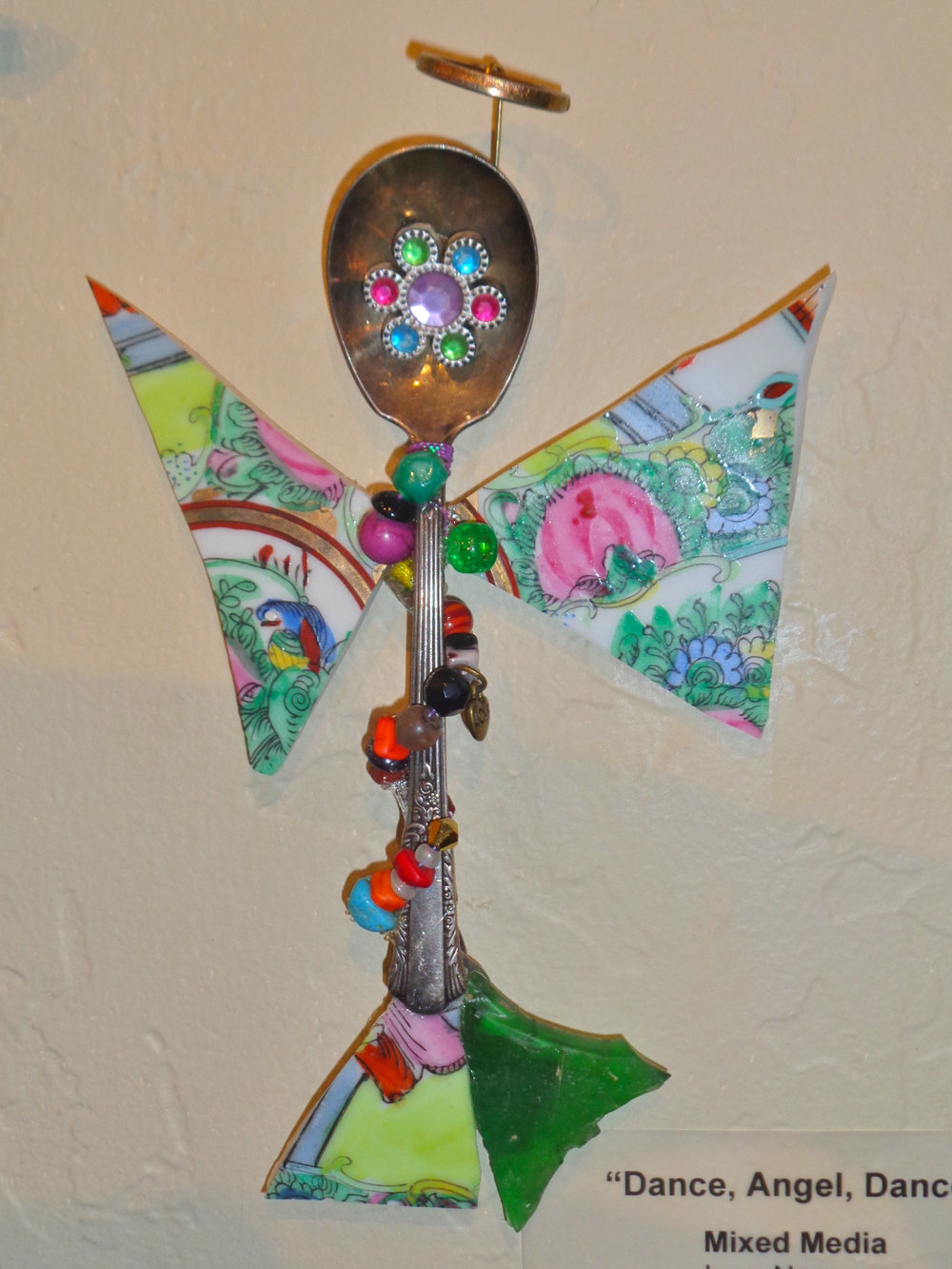""""""" Dance, Angel, Dance """" mixed media, found object, 8""""h x 5""""w   AVAILABLE / $65"""