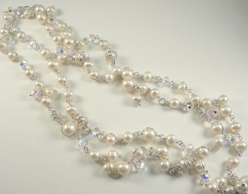 Jessica Necklace - Fresh water pearl, Swarovski crystal and sterling silver.