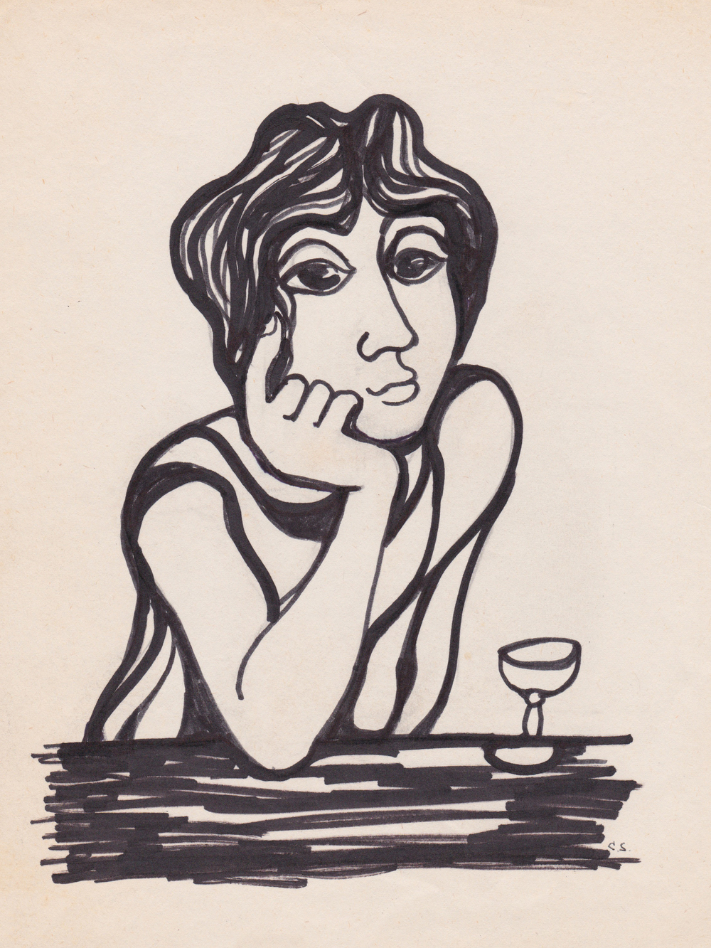Untitled (Pensive Woman at Bar)