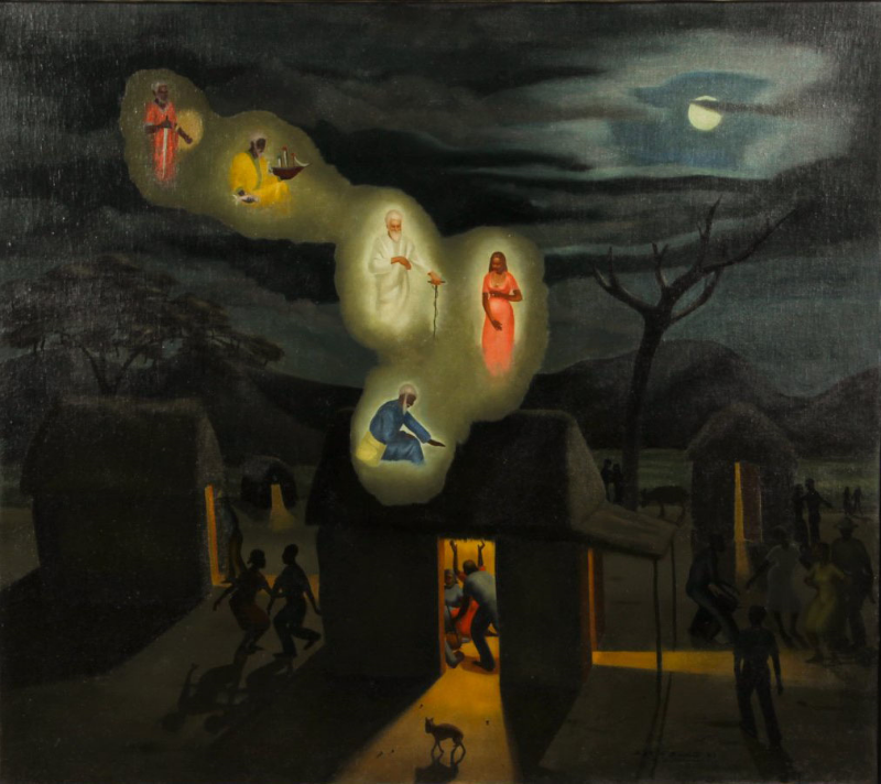 Angelo di Benedetto (American,1913-1992),   Haiti, Cul de Sac   (  Conjuring the Loa),  1939, oil/canvas