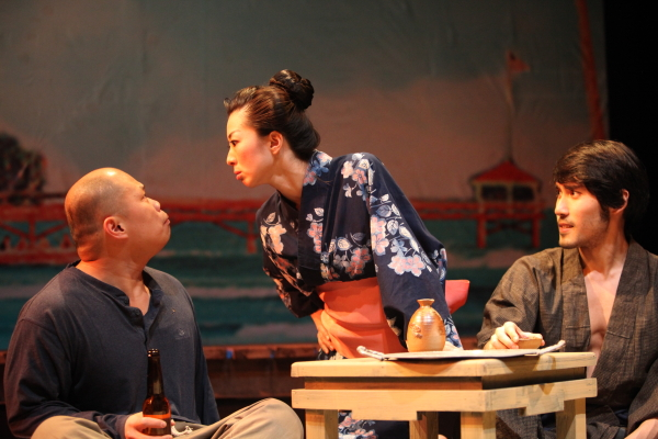 Viet Vo as Nishi, Kiyo Takami as Yamamoto, and Bobby Foley as Aoki in Pan Asian Repertory's production of Edward Sakamoto's Fishing for Wives, directed by Ron Nakahara, at the Clurman Theatre at Theatre Row. (© John Quincy Lee)