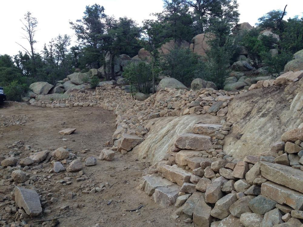 "Granite rip-rap, with ""natural"" stone steps"