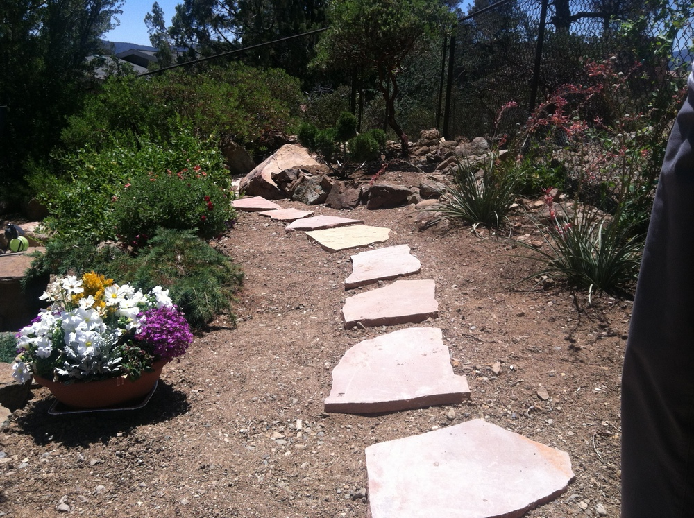 Flagstone pieces being set