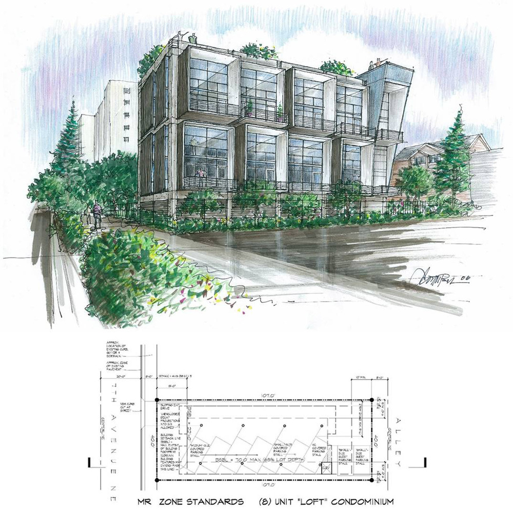 Conceptual sketch of the front elevation and plan below.