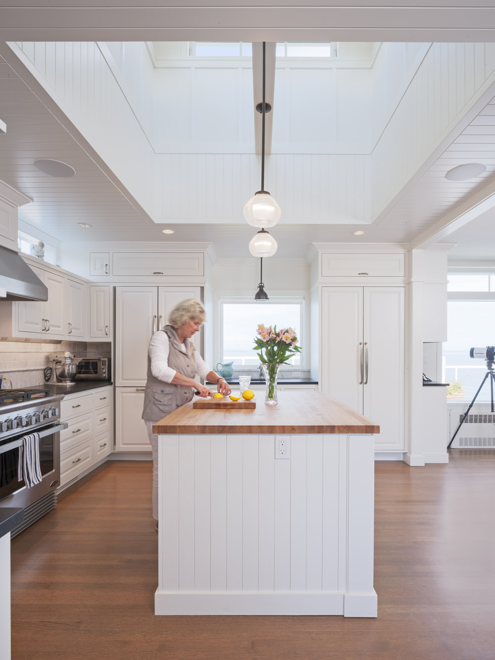Kitchen island with cupola above