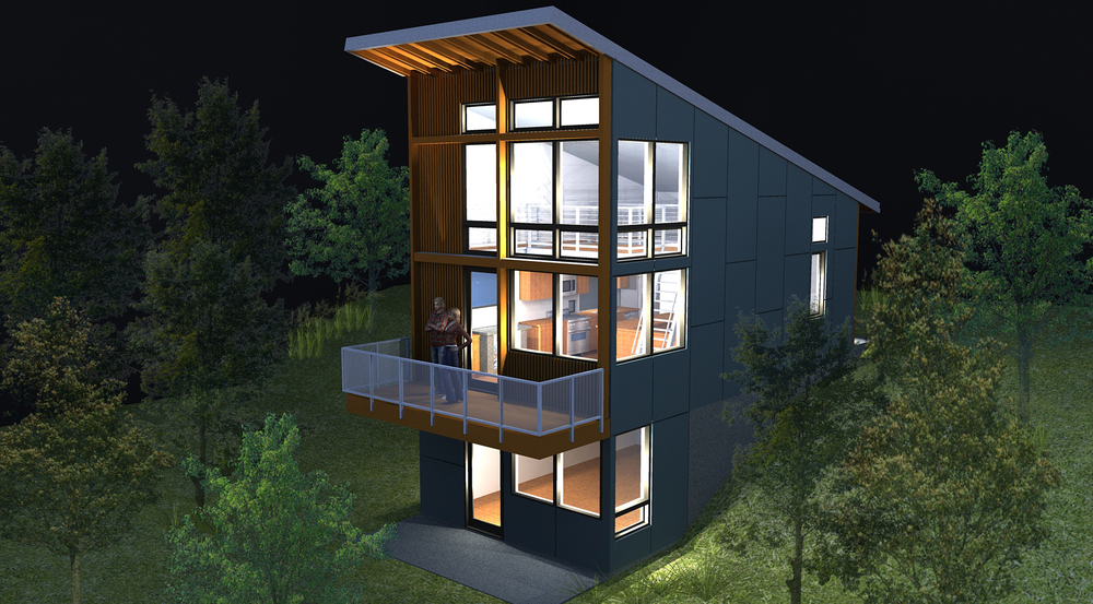 "Rendering shows the southwest exterior. Main level ""Rolling loft"" space above in a double height flexible living-art studio. Bedroom is in the basement below."