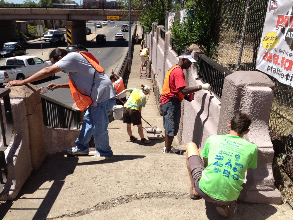 Our NRI kickoff event, the Milton Underpass Facelift, set the stage for collaboration with City of Flagstaff, BNSF Railroad, Adult Probation, the Flagstaff Community Market, Granny's Closet, and individual volunteers.