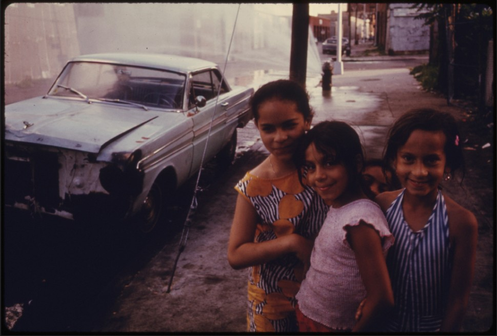 Three  Young  Girls on Bond Street in Brooklyn    August, 1974      U.S. National Archives:  412-DA-13491
