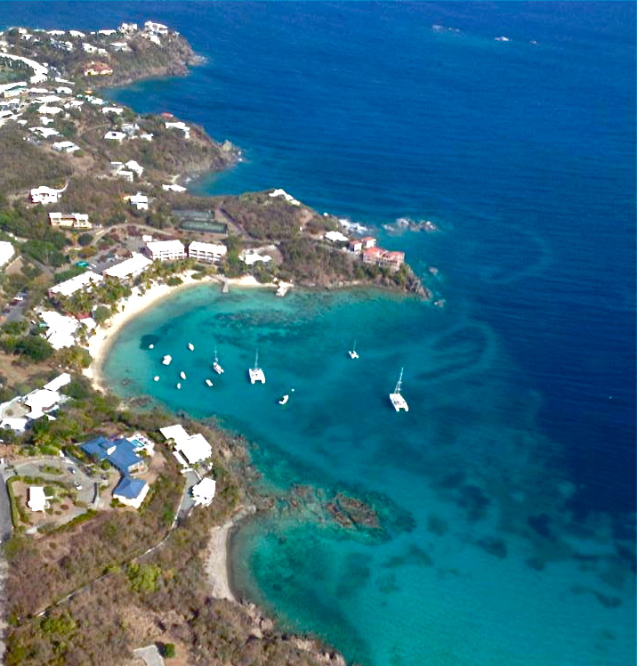 Here is a fun photo taken from a helicopter high above Nazareth Bay, St. Thomas U.S. Virgin Islands.