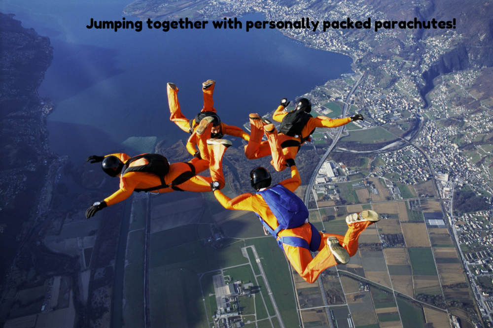 Jumping Together With Personally Packed Parachutes