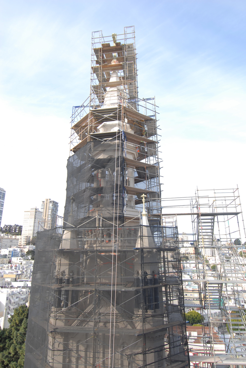 Saints Peter and Paul Church - close-up of Tower scaffold
