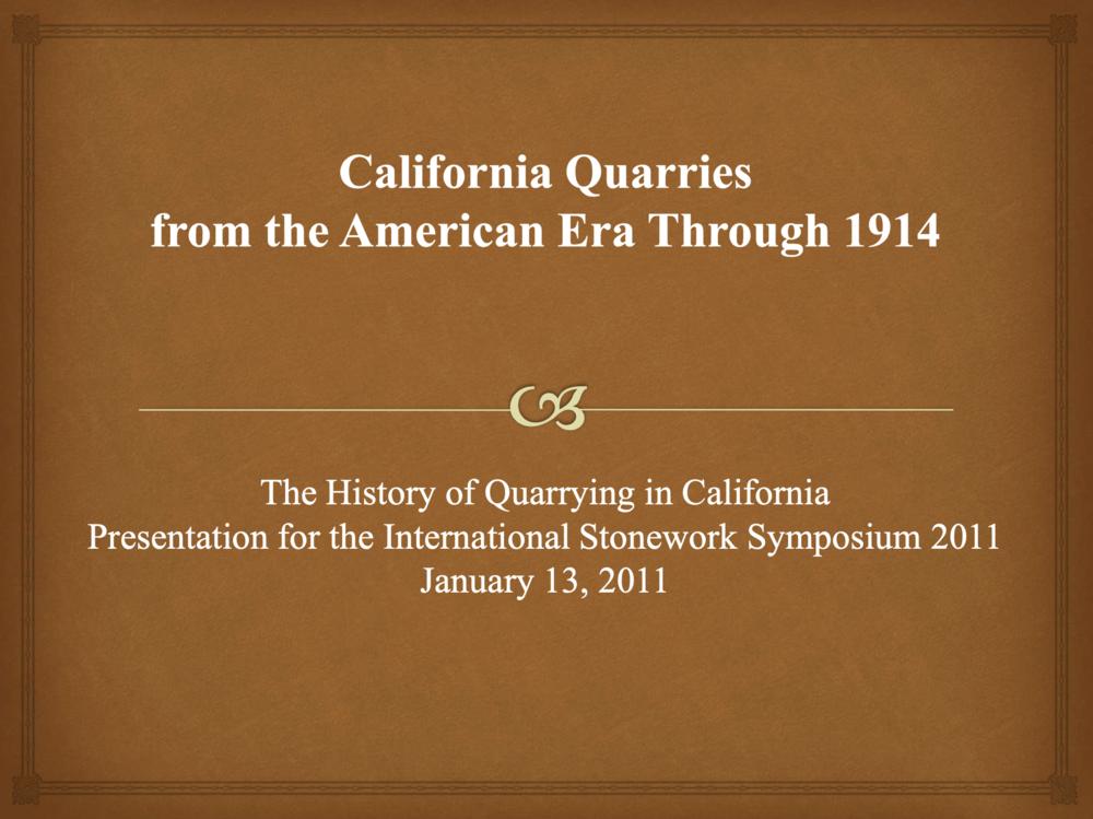 California Quarries History -