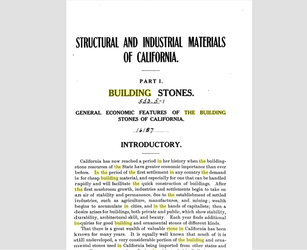STRUCTURAL AND INDUSTRIAL MATERIALS OF CALIFORNIA - History of Stone Quarries and Stone Buildings in California