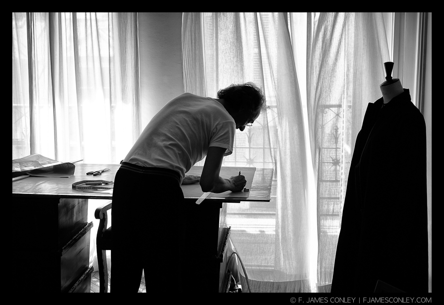 Fashion Designer Catharinus Verhoeckx at work in Paris.
