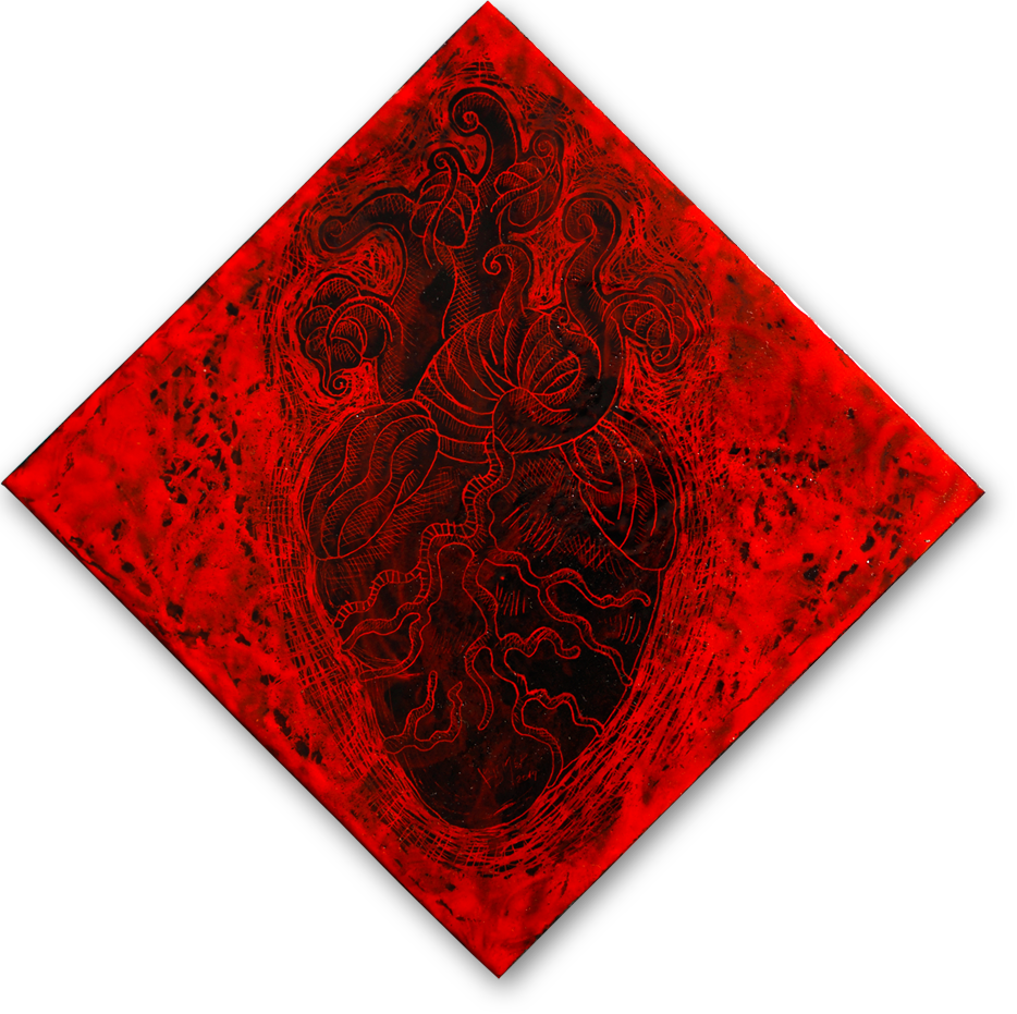 """Corazón Germinando""    Acero vitrificado en lámina negra, cuatro capas. 18x18 cm. Colección particular."