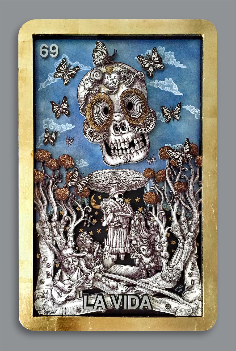 """""""El Juego de la Vida"""".Tinta, acrílicos y hoja de oro sobre capas de madera recortada con rayo láser. 60x90 cm. Luis Moor, noviembre 2015."""