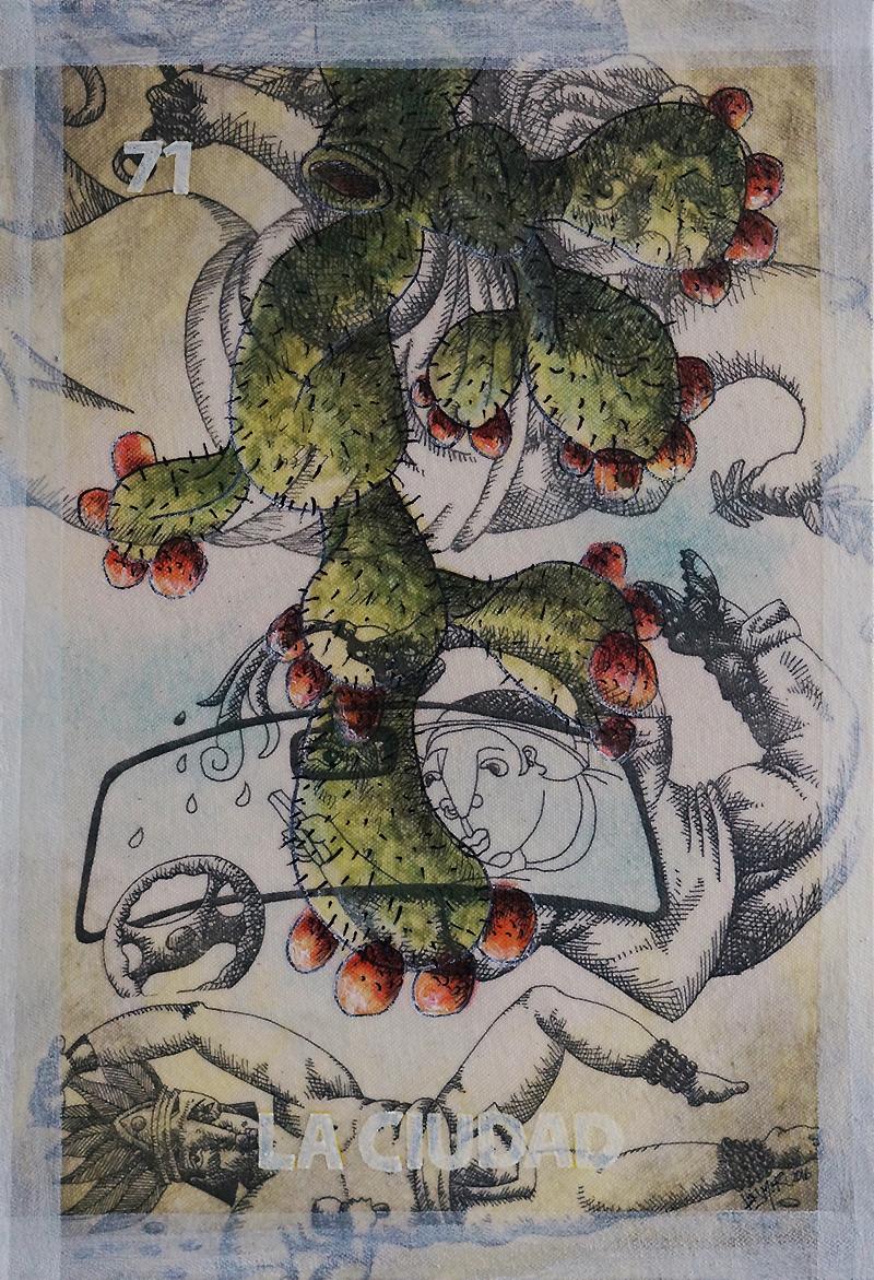 """""""La Ciudad"""" Transfer y acrílico sobre lienzo 25x34 cm, DISPONIBLE"""