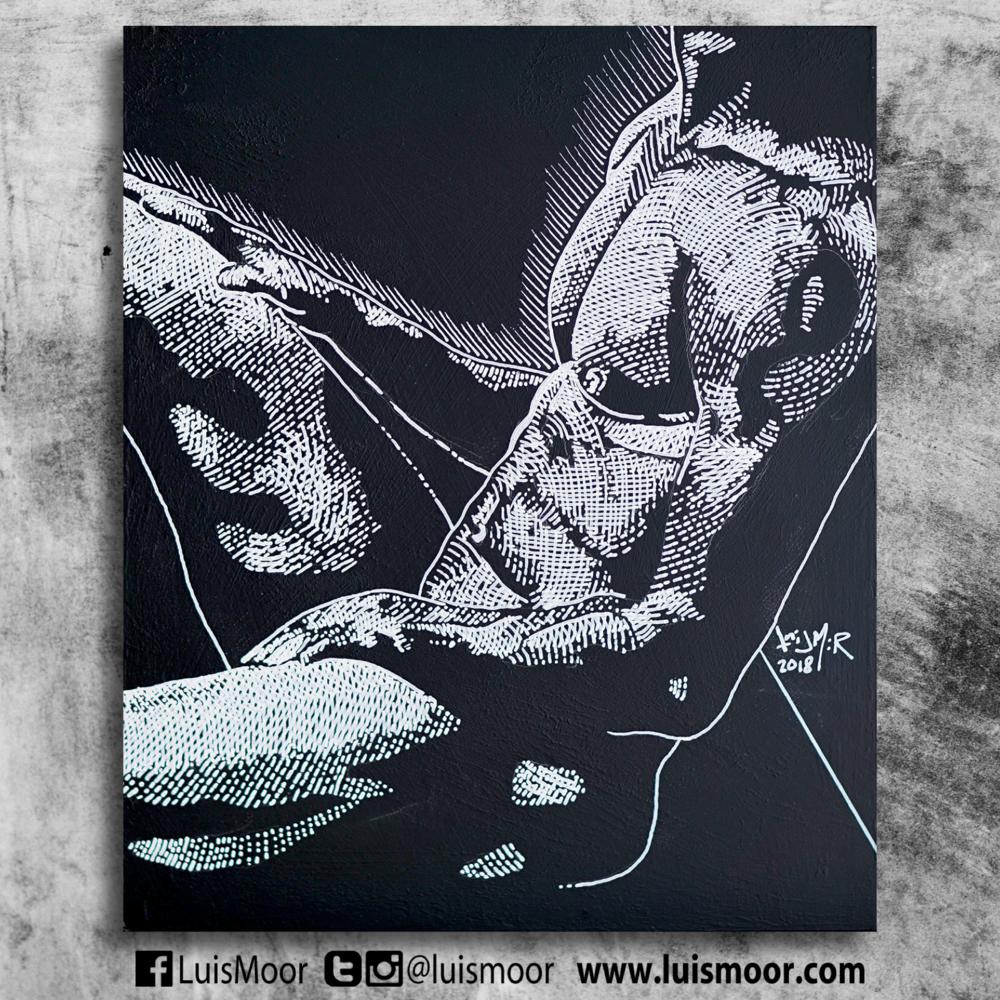 """""""Encuerado III"""" Acrílico blanco sobre pizarrón negro, 22 x 26 cm"""