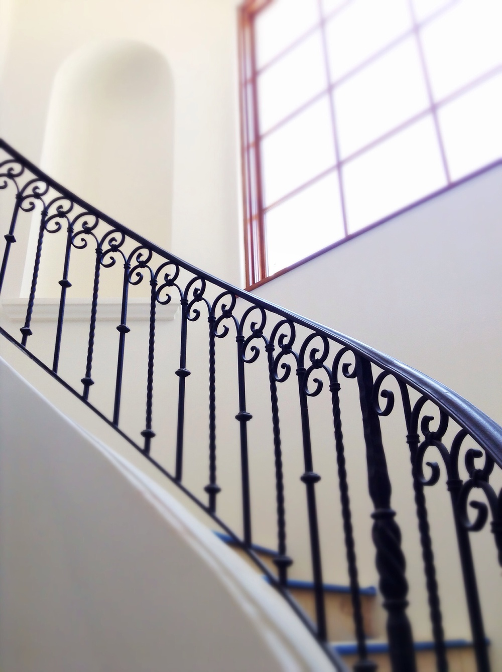 Custom hand forged stair rail