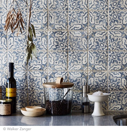 Kitchen backsplash using the Duquesa Fatima in Mezzanotte tile. Image via  Walker Zanger .