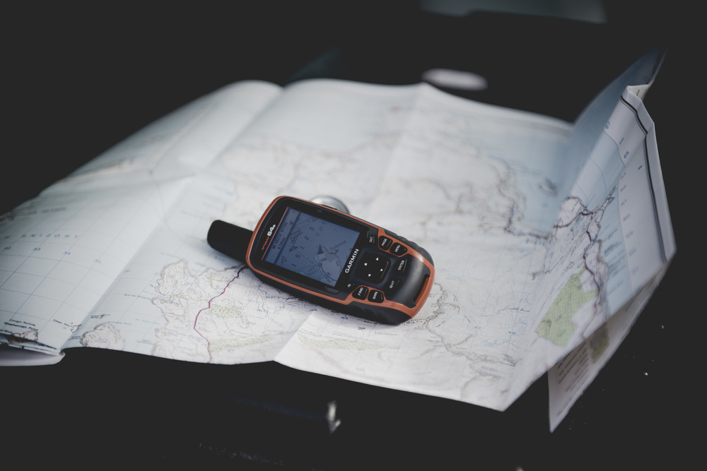 Marking off the bothy locations and routes on the GPS
