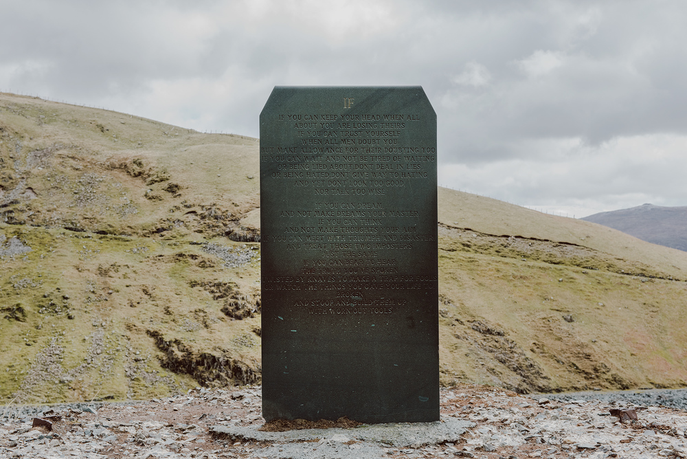 'If' slate engraved poem on the hills above Honister Pass