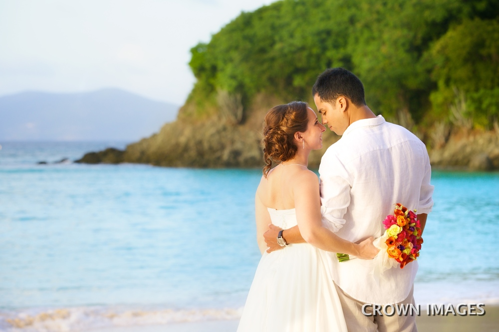 st john wedding on trunk beach
