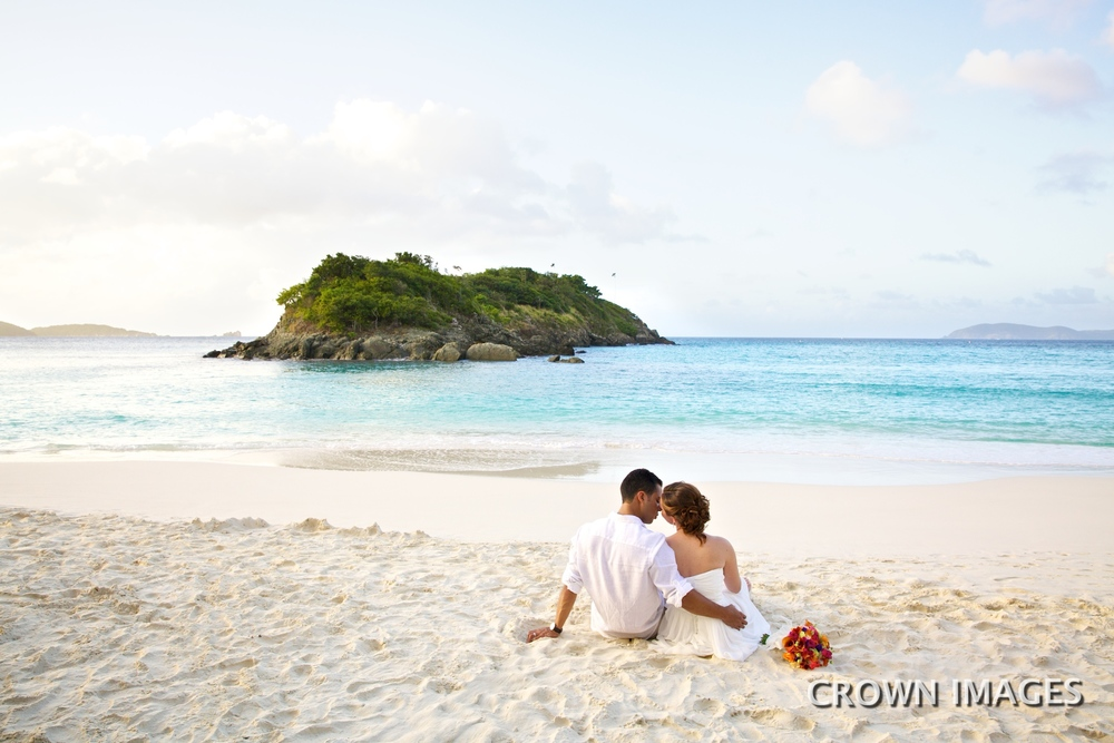 sunset wedding on st john beach